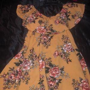 Yellow Flower Shoulder Dress